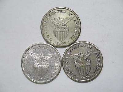 Philippines 1909S 1908S 1907S One Peso Silver Crowns World Coin Collection Lot