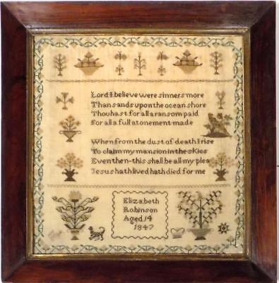 Elizabeth ROBINSON 1847 * Fine Early VICTORIAN Antique SAMPLER, Original FRAME