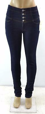 BLUE STAGE JEANS USA Womens High Waisted Button-Fly Dark Denim Skinny Jeans