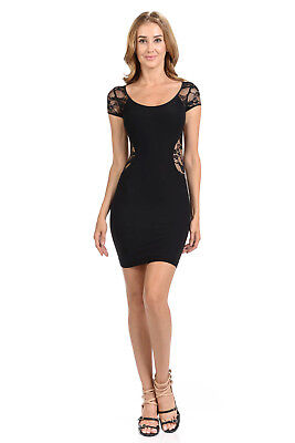 Bebe Womens Black Spandex Lace Bodycon Mini Dress Stretch Clubbing Sexy S M/L