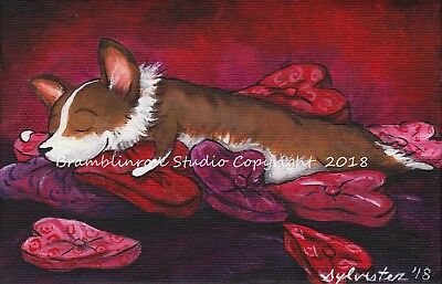 Welsh Pembroke CORGI Painting Dog on Heart Pillows Art Valentine's Day Gift