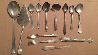 13 Pieces Old Vintage  Silverware Silver Flatware Variety Mixed Craft Lot