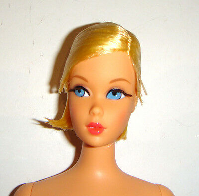 Nude Barbie Doll Short Blonde Twist n Turn Rooted Eyelashes Repro h62