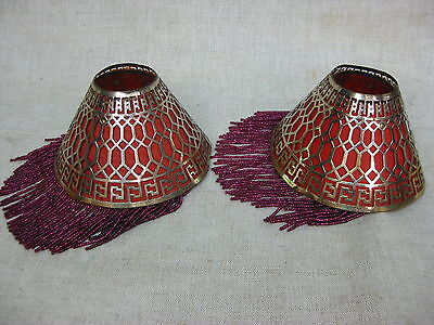 Vtg Pair of Original Authentic 1920s Art Deco Filigree Beaded Boudoir Lampshades