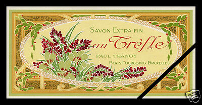 Vintage French Soap Label Antique Perfume TREFLE Paul Tranoy Paris c. 1900