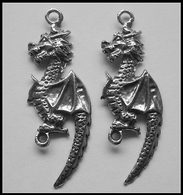 PEWTER CHARM #256 x 2 DRAGON 2 bail joiner (17mm x 48mm)