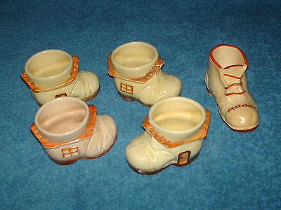 5 x ceramic boots for matches four are vintage