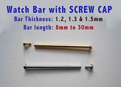 WATCH PIN with SCREW CAP, WATCH STRAP BAND SCREW BAR LUG, THREADED T-BAR