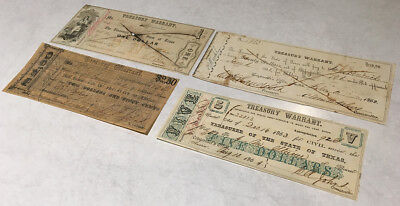 1862-1863 Four(4) Texas Treasury Warrants > Nice & Different Types > No Reserve
