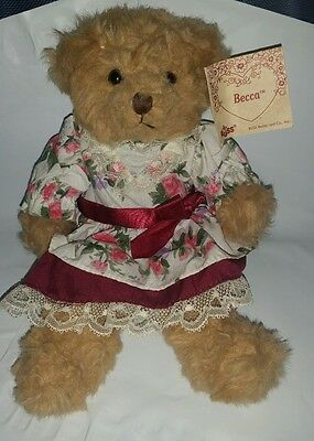 RUSS BERRIE  BECCA TEDDY BEAR PLUSH IN FLOWERED DRESS With Tag