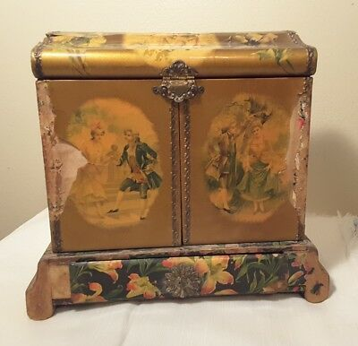 Antique VTG Woman's VICTORIAN Vanity Dresser Box With Brush Set Tools CELLULOID