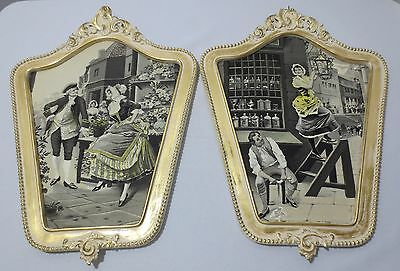 Pair VTG ANTIQUE FRENCH TAPESTRY EMBROIDERY  Framed Wall Art Lamplighter Flowers