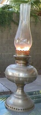 Antique Rayo Nickle Plated Center Draw Oil Lantern - Works Great!