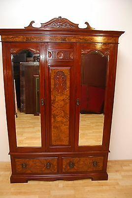 Large Victorian Antique Carved Walnut Burr Walnut Triple Compactum Wardrobe Vg