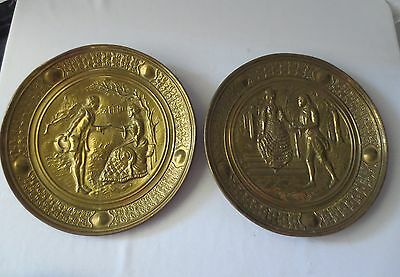 PR Antique Vtg Victorian courting couple REPOUSE BRASS WALL PLAQUE Plate