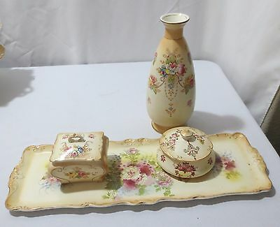 Antique Crown Devon Fieldings Blushware Dresser tray set ETNA WYE 4 pc  ca 1912