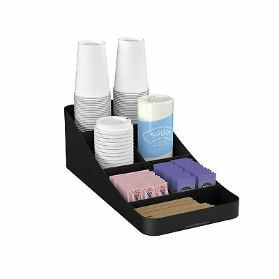 Coffee Condiment Organizer 7 Compartment Black Durable Plastic Rubberized Feet