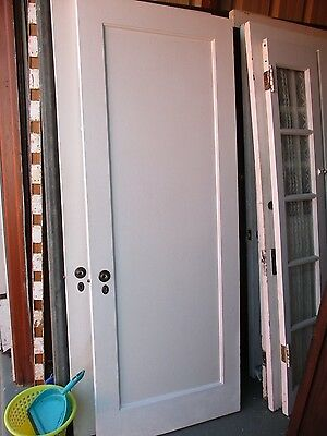 ANTIQUE VINTAGE 1 PANEL INTERIOR DOOR  APPROX 30 x 78 approx PAINTED BOTH SIDES