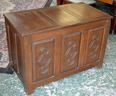 Antique style large solid vintage oak panelled blanket chest with carved front