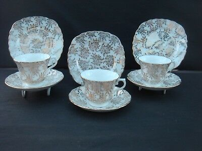 Three Vintage Royal Vale Gold Filigree Chintz Trios Cups Saucers Plates