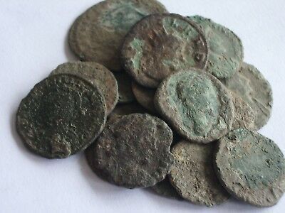 Lot of 19 Roman Bronze Coins Uncleaned Rare
