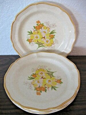Mikasa 4 Salad Plates Garden Club Soft Melody Ivory Yellow and Orange Floral