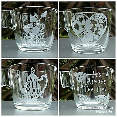 Alice in Wonderland Set of 4 Engraved Glass Cups - New