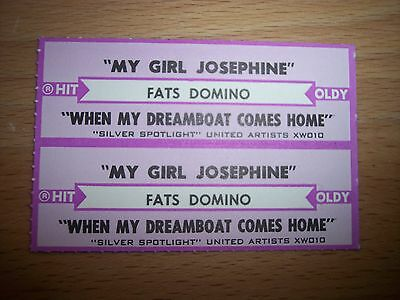 "2 Fats Domino My Girl Josephine Jukebox Title Strip CD 7"" 45RPM Records"