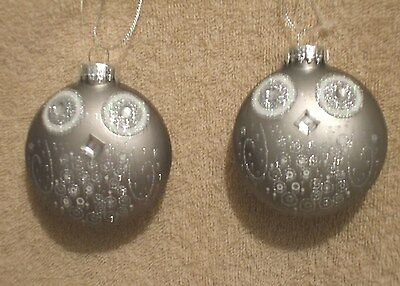 2 Pc Jeweled Glass SILVER OWL Disk Shaped Christmas Ornaments - NEW