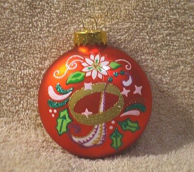 Red Glass Twelve Days Of Christmas Five Gold Rings Ornament - NEW
