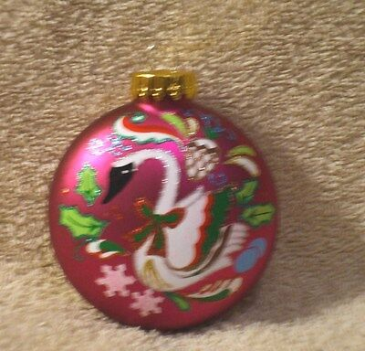 Purple Glass Twelve Days Of Christmas Six Geese-A-Laying Ornament - NEW