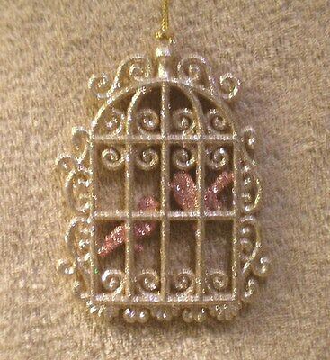 Acrylic Gold Glitter Bird Cage w/Pink Glitter Birds Christmas Ornament- New