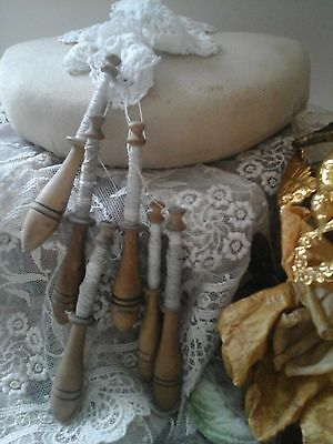 Antique French 1800's~Lace Making Pillow/6 Turned Wood bobbins/Thread~Collectors