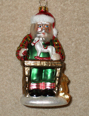 Glass SANTA IN WORKSHOP Christmas Ornament - PAINTING TOYS - NEW