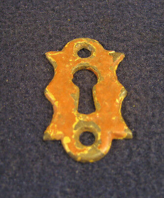Antique Cast Brass Iron Door Key Hole Escutcheon Plate Architectural Salvage