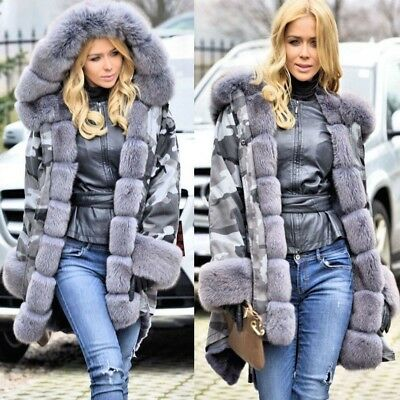 Women Winter Knee Length Military Parka Faux Fur Collar Jacket Camouflage Coat