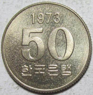 South Korea, 50 Won, 1973, Toned Uncirculated, Better Date, Copper-Nickel