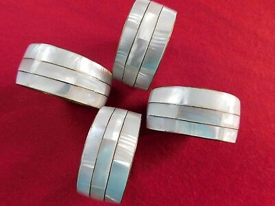 Set 4 Mother of Pearl and Brass Napkin Rings - Philippines - 3 Bands - Vintage