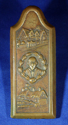 Antique Cast Bronze Paper Clip With Shakespeares House Stratford On Avon