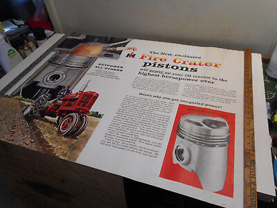L2068- Rare IH Fire Crater Pistons Dealer Posters- MTA IMAGE - 1950s 38 x 28 in