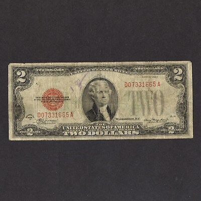 $2 United States Note - 1928 D Red Seal - Circulated
