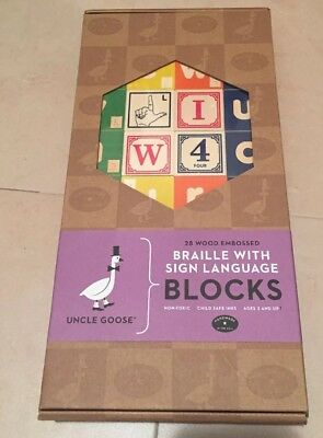 Uncle Goose Braille ABC with Sign Language Blocks - Made in USA