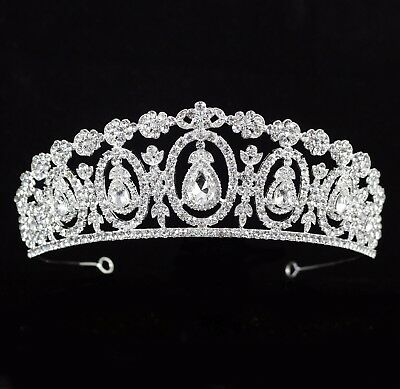 Daisy Drip Clear Austrian Rhinestone Crystal Tiara Crown Bridal Pageant Prom T61