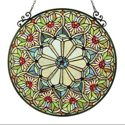 Stained Glass Panel Window Suncatcher Tiffany Style Round Victorian Floral Look
