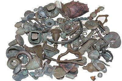 LOT OF ANCIENT GREEK & ROMAN BRONZE UNCLEAN ARTIFACTS FRAGMENTS 440 Grams