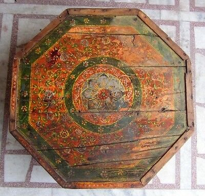 1850s Old Antique Hand Crafted Painted Wooden Low Seating Bajot Stool