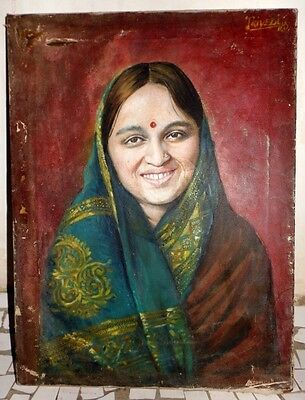 Antique Rare Collectible Beautiful Indian Lady Hand Oil Canvas Painting