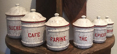 Antique Vintage French Enamel 6 Piece Canister Set ~ Red w/ White Marbled Design