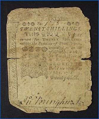1764 Twenty Shillings Note, Pennsylvania