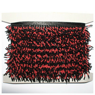 10m Black/Red Beaded Fringe Card Sewing Crafts Trimmings Edging Curtains Job Lot